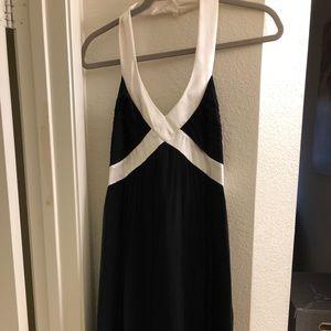 Maggy London 6 Black & White Silk Halter Dress